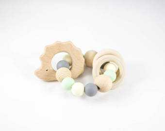 Wooden Teether - Natural Baby Teether - Organic Teether - Organic Baby Toy - Teether - Rattle - Wooden Rattle - Hedgehog Teether - Baby Toy