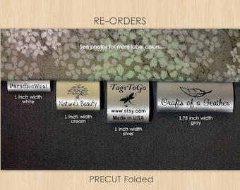 150 PRECUT FOLDED Custom Satin Clothing Labels for Returning Customers Only ~ TagsToGo