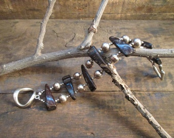 Vintage Sterling Silver Wood Bead Bracelet