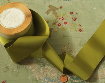 "1 yard vintage silk rayon ribbon trim chartreause grosgrain millinery hat doll dressing  2 3/16"" wide"