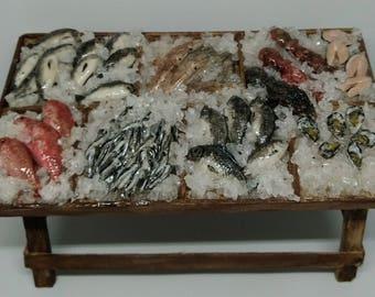 Fresh fish stand miniature 1:12 scale