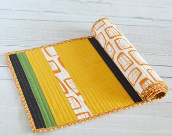 Quilted Table Runner Modern Stripes