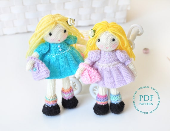 Doll Knitting Pattern Molly And Dolly Dolls Knitted Doll Pattern
