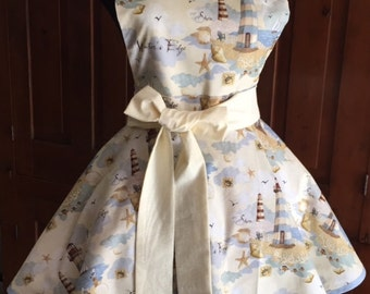 Relaxing Shoreline with Lighthouses, Shells and Seagulls Full Twirly Apron