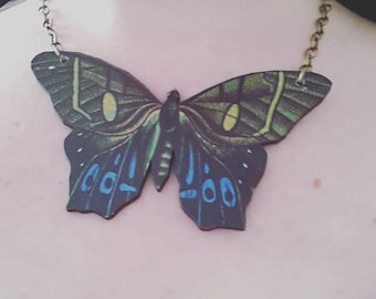 Huge, JUMBO, large,butterfly, moth, wooden, wood, feature necklace, Brown, blue, green, necklace,short necklace, by NewellsJewels on etsy