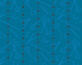 Fabric by the Yard - Seventy Six- Arrows in Blue- by Alison Glass for Andover