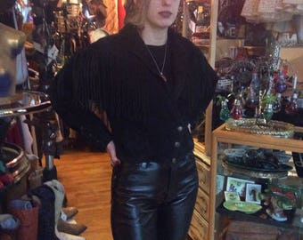 Wilson's leather suede fringe cropped jacket 90s