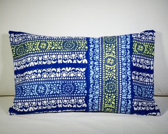 """Marimekko Pillow Cover   Blue pillow   Handmade Pillow   Vintage Marimekko   14x24"""" (35x60cm)"""