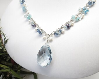 Blue Topaz Quartz With Multi Color Blue Gemstone Pearl Necklace In Sterling Silver, Multi Gemstone Necklace, Keiras Crystal Creations
