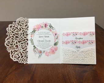 Ivory shimmer Sage Green Laser Cut Wedding Invitations Pocket Wedding invitation Laser Cut Jacket Sage Pink Blush Floral Elegant Invitations