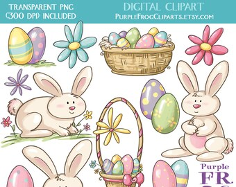 Arte de Pascua - Digital Clipart, Clip. 15 imágenes, 300 dpi. JPEG, archivos png. Descarga inmediata.