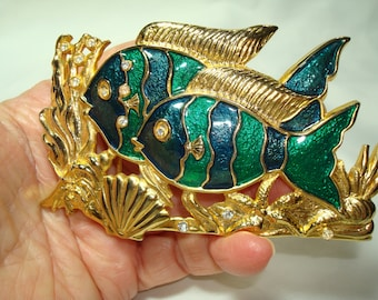 Large Vintage Gold Tone with Green and Blue Enamel Fish Belt Buckle with Rhinestones.