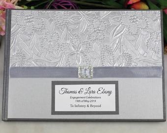 Engagement Guest Book Memory Album - Silver