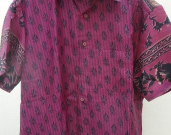 Men's Handmade Indian Woven Cotton Lined Short Sleeved Button Down Pocket Shirt -  Sanjay  F613