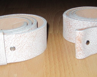 2 White Leather WASHED UP HOLLYWOOD buckle Snap on Belts Sz 32
