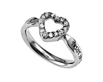 "CZ Open Heart Ring ""Trust"""