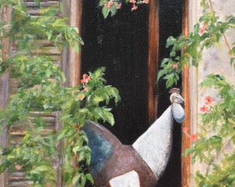 French Rooster Decor in the Window