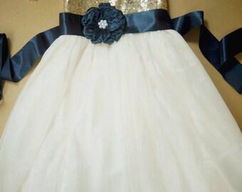 Flower girl dress tulle and sequin flower girl dress Gold flower girl dress Flower girl for wedding Navy flower girl dress ivory flower girl