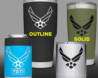 Air Force Symbol Wings (USAF) - Yeti Cup / Water Bottle / Tumbler / Cell Phone Vinyl Decal / Sticker
