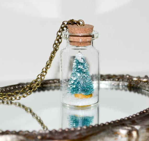 Christmas Tree Necklace, Bottle Jewelry, Christmas Necklace, Miniature Christmas Tree Necklace, Alternative Christmas Tree, Holiday Jewelry