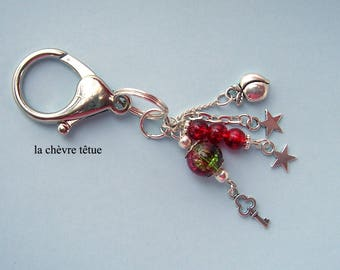 Door keys, bag charm, silver charms and beads in red Crackle Glass and silver chain