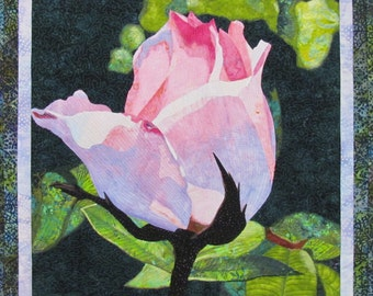 Rose Bud Art Quilt Pattern by Lenore Crawford