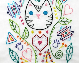 Kitty cat. Hand Embroidery Pattern. Embroidery design. Digital pattern. Cat lover. Cat embroidery. Cat lady. Cat sewing pattern. Cat doodle.