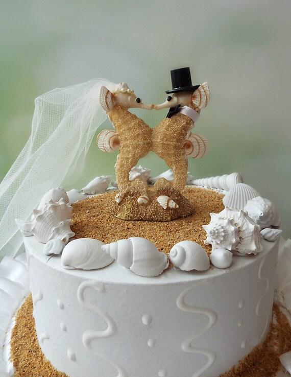 Sea Horse-wedding-cake topper-bride-groom-seahorse