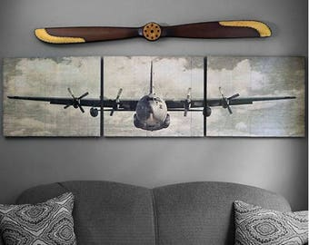 C-130 Hercules Wooden Aviation Triptych Art- 90x24
