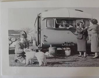 Vintage Caravanning - a lovely family holiday. circa 1940s? Blank Greetings Card
