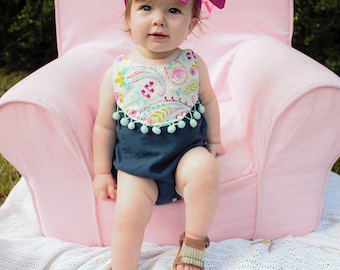 Baby Reagan's Bib boho romper . PDF sewing patterns for Baby sizes NB-24 months