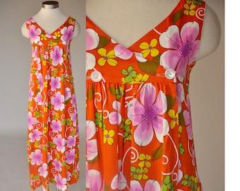SALE 60s Hawaiian dress | vintage orange floral maxi dress | high waist, sleeveless
