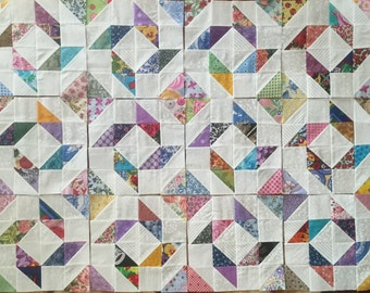 12 COLOR COLLECTION Scrappy Pinwheels Mosaic Quilt Top Fabric Blocks 100% Cotton Made in USA