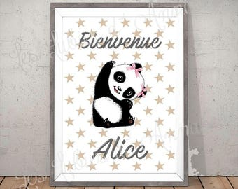 Poster or posterPanda girl welcome customizable