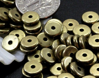 Heishi Disk Coin Beads, 8 mm, Spacer Beads, Accent Beads, 8mm, Jewelry Findings, Antiqued Brass, 20 or More Pieces, 4427