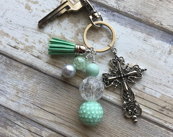 Cross Keychain Purse Charm