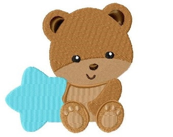 Embroidery Design little baby bear and star 4'x4' - DIGITAL DOWNLOAD PRODUCT