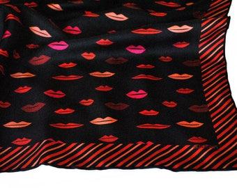 Lips Silk Pocket Square / Black Silk Pocket Square / Black Silk Neckerchief / Black Silk Scarf / Silk Scarf / Silk Pocket Square