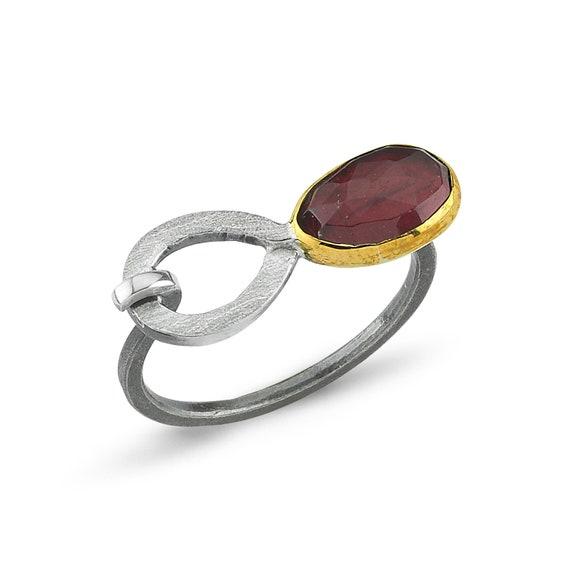 Handmade Silver Rhodolite Ring, Oxidized Ring, Natural Rhodolite Ring, Statement Ring, Garnet Ring, June Birthstone , Infinity Ring, For Her