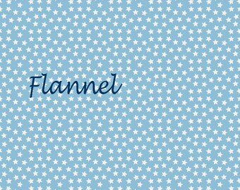 Light Blue Stars Flannel Fabric, Riley Blake Lucky Star F4833 Blue, Blue & White Flannel Quilt Fabric, Baby Quilt Fabric, Cotton