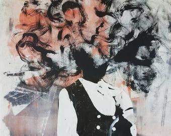 Mess-head no. 008- mixed media - Original Artwork