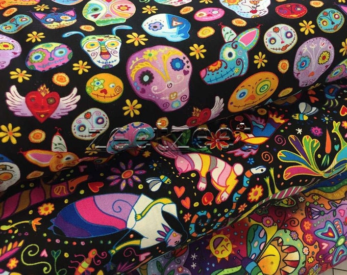 3 Piece Set MEXICAN SKULLS Spirit Animal HEADS Colorful Black Quilt Fabric - 3 designs - Day of the Dead Folk Art Mexico - Half Yds or Fq's