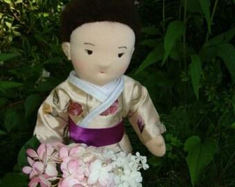 "Waldorf doll,Japanese Waldorf doll  19"",HANDMADE,waldorf doll, cloth doll, poupees,Creative doll"