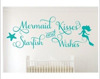 Mermaid Kisses Wall Decal Starfish Wishes Wall Decal Mermaid Room Decal Mermaid Decor Nursery Decal Mermaid Bedroom Decal Girls Wall Decor