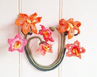 Orange Tiger Lily Textile Wall Hanging, Orange Wall Decor, Orange Flower Wall Decor, Orange Flower Wall Hanging, Orange Textile Wall Hanging
