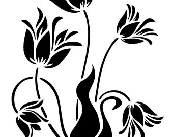 "5.8/8.3"" lilly flower stencil. A5."