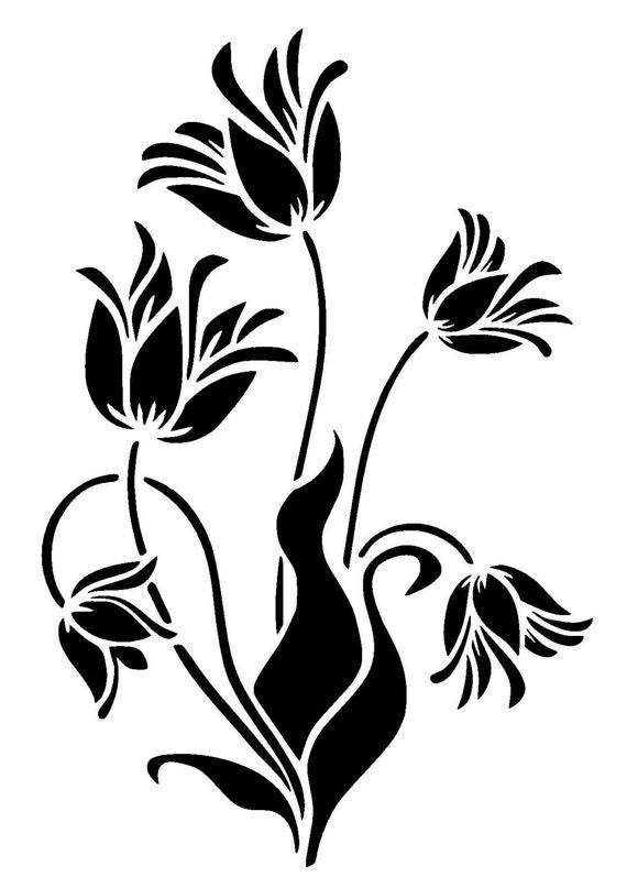 Juicy image inside printable flower stencil