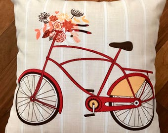 Bicycle design 18x18 accent pillow cover, decorative pillow cover, sofa pillow, couch pillow, pillows, pillow cases, chair pillows