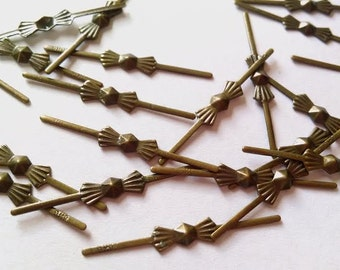 33mm Antique Bronze Tone Bowtie Chandelier Pins Crystal Connectors Pack of 100 FREE SHIPPING USA