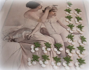 40 vintage appliques woven white cherries with green leaves 2 cUte